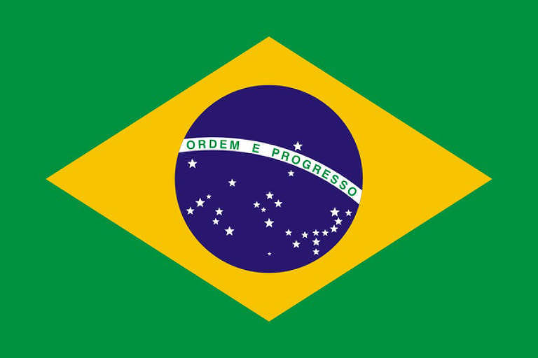 Iustração da Bandeira do Brasil verde, amarela e azul