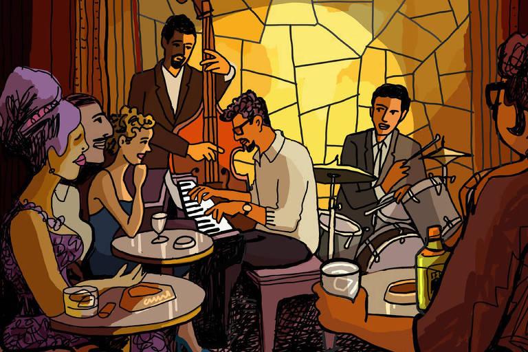 animação em vitral de um salão de jazz