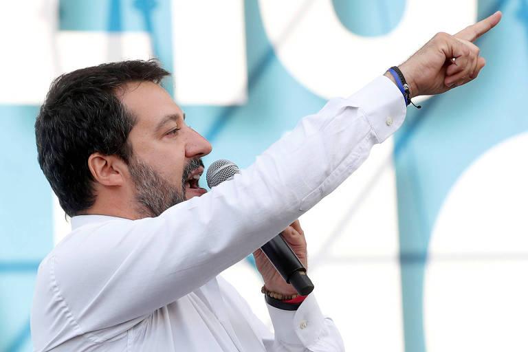 O líder da Liga, Matteo Salvini, discursa em Roma