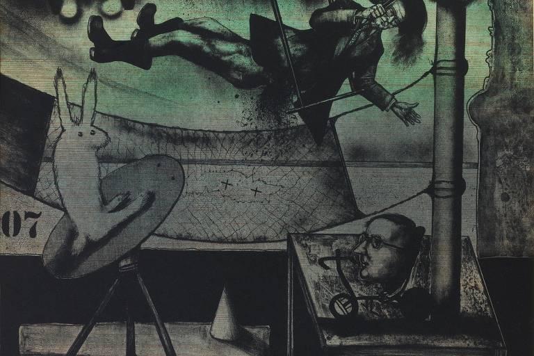 Pintura de João Câmara da série Repertórios e Diversos, da década de 1980, exibida no Museu Afro Brasil, no Ibirapuera
