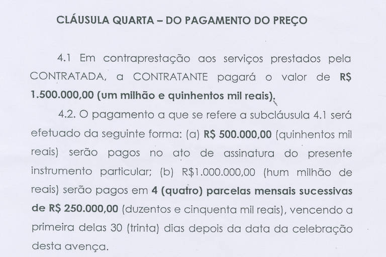 uma pagina do contrato