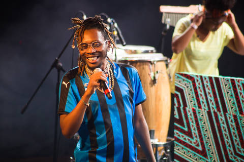 Rapper Rincon Sapiência em show no palco da Audio (zona oeste de São Paulo) durante o festival Black to the Future; evento em parceria com a Feira Preta foi aquecimento para a vinda do festival Afropunk ao Brasil, em 2020