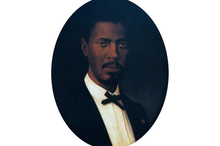 Retrato a óleo do engenheiro André Rebouças, negro, usando traje social