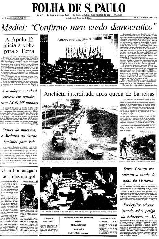 Primeira página da Folha de S.Paulo de 21 de novembro de 1969