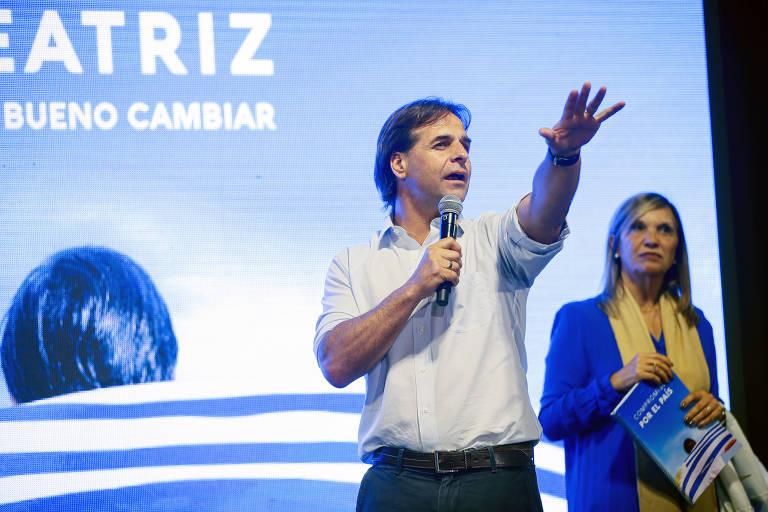 O candidato Luis Lacalle Pou (Partido Nacional) faz comício em Maldonado