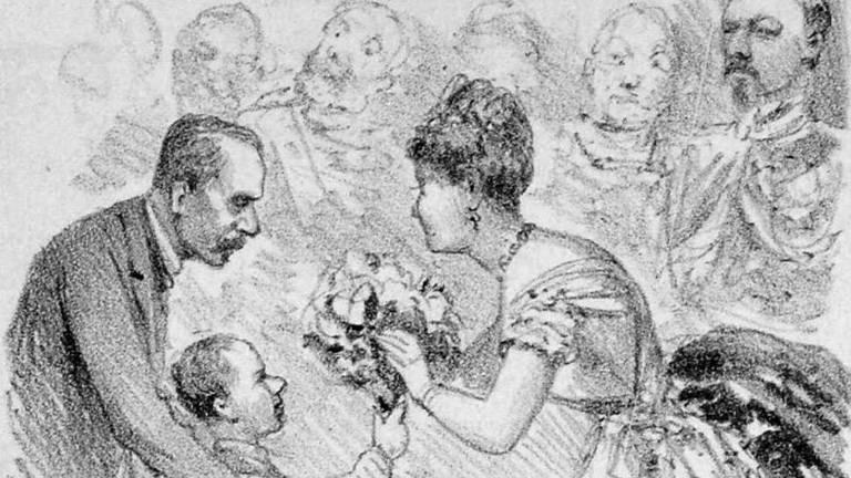 Na ilustração da Revista Illustrada, de 1888, José de Seixas Magalhães entrega camélias para a princesa Isabel