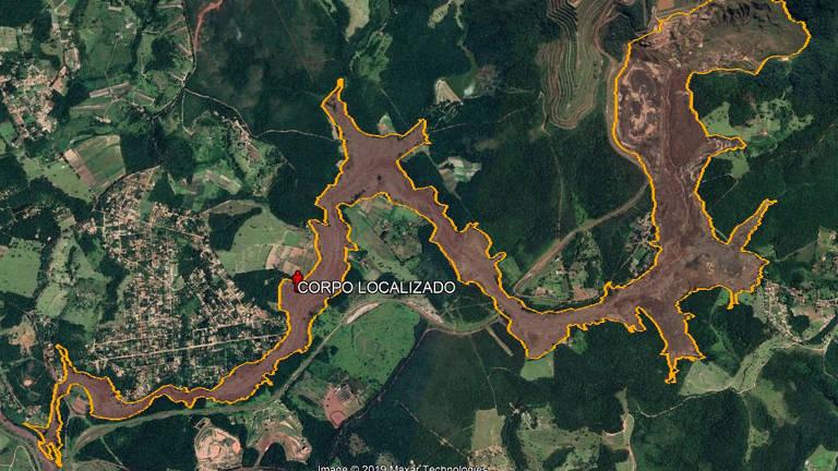 Local onde 255ª vítima da Vale foi localizada, em Brumadinho