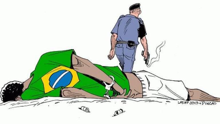 Por fim, imagem sobre violência policial contra população negra rasgada pelo deputado Coronel Tadeu