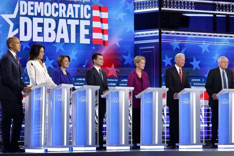 Os pré-candidatos democratas que participaram do debate de quarta (20): Cory Booker (D-NJ), Tulsi Gabbard, Amy Klobuchar, Pete Buttigieg, Elizabeth Warren, Joe Biden e Bernie Sanders