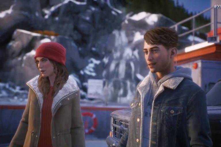 """Alyson (à esq.) e Tyler em cena do game """"Tell me Why"""""""