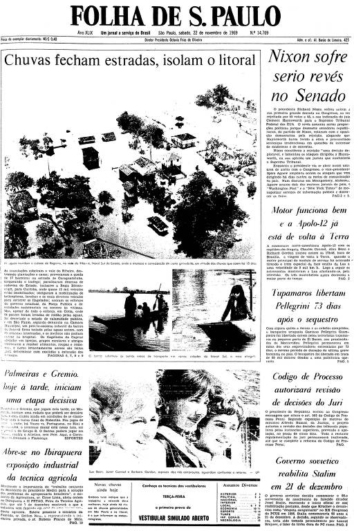 Primeira página da Folha de S.Paulo de 22 de novembro de 1969