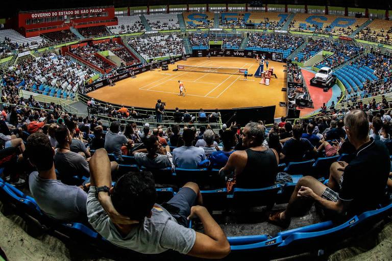Vista da arquibancada da edição de 2019 do Brasil Open no ginásio do Ibirapuera