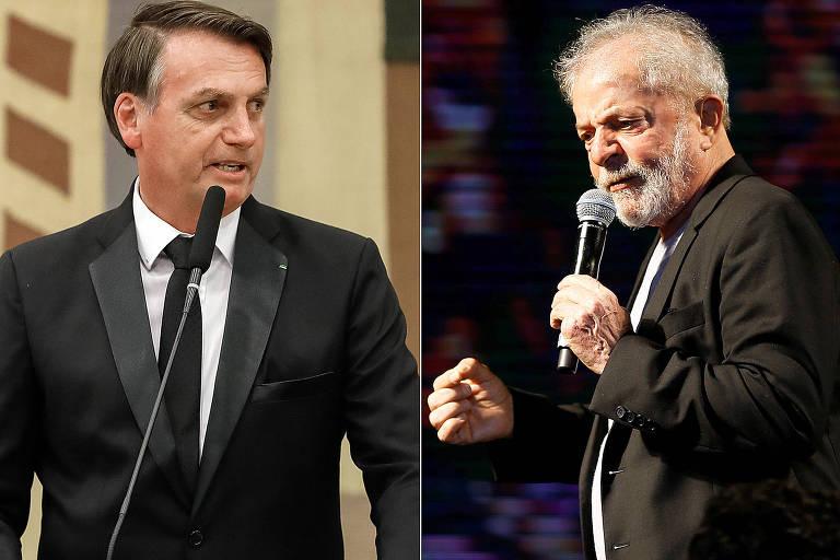 O presidente Jair Bolsonaro, durante jantar oferecido em homenagem aos líderes dos Brics; e  o ex-presidente Luiz Inacio Lulá da Silva em Recife