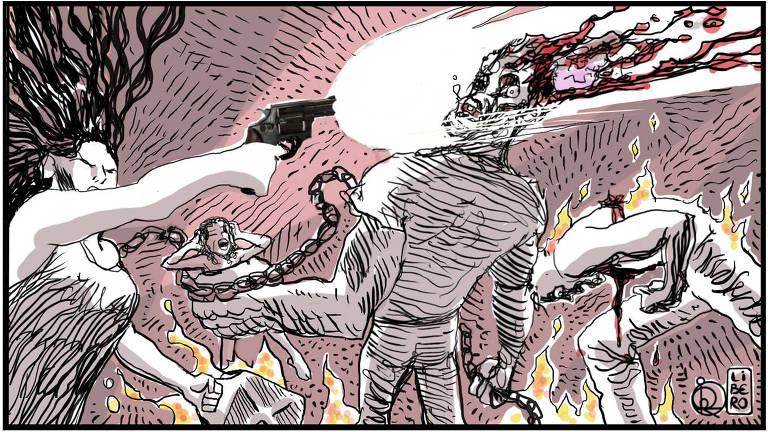 A ilustração mostra uma batalha em meio ao fogo. Há uma pessoa com os cabelos revoltos na esquerda que segura um galão grande e atira na cabeça da pessoa que está no centro da imagem. A pessoa do centro segura uma outra na mão, há uma corrente que passa de uma mão para a outra que segura a pessoa. No lado direito, uma pessoa agoniza ensanguentada e em chamas