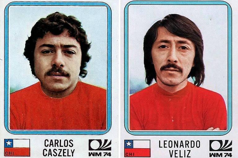 Figurinha de Carlos Caszely (esq.) e Leonardo Véliz (dir.) no álbum da Copa do Mundo de 1974