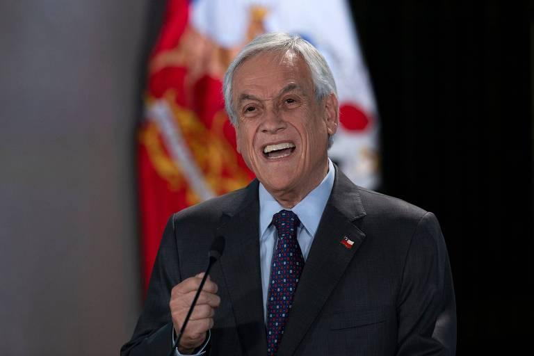 O presidente do Chile, Sebastián Piñera, durante discurso em Santiago