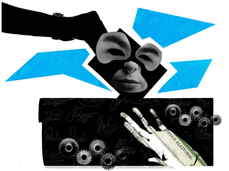 Colagem com título de eleitor, fundo azul e algumas mãos, um rosto e engrenagens