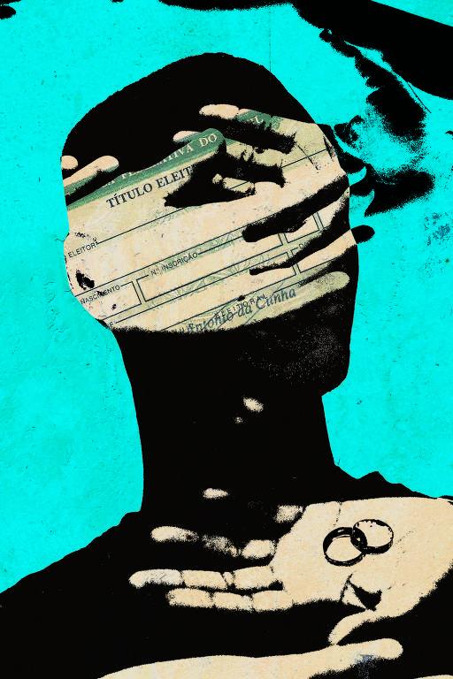 Colagem com título de eleitor, fundo azul e algumas mãos em cima de um rosto sem face