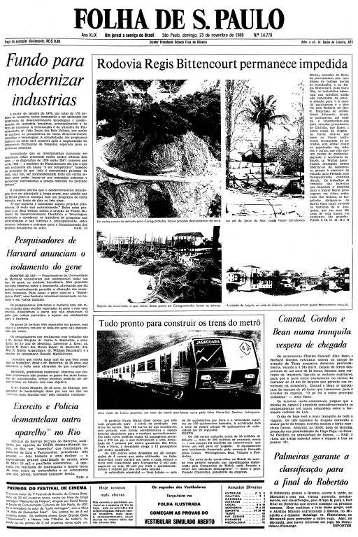 Primeira página da Folha de S.Paulo de 23 de novembro de 1969