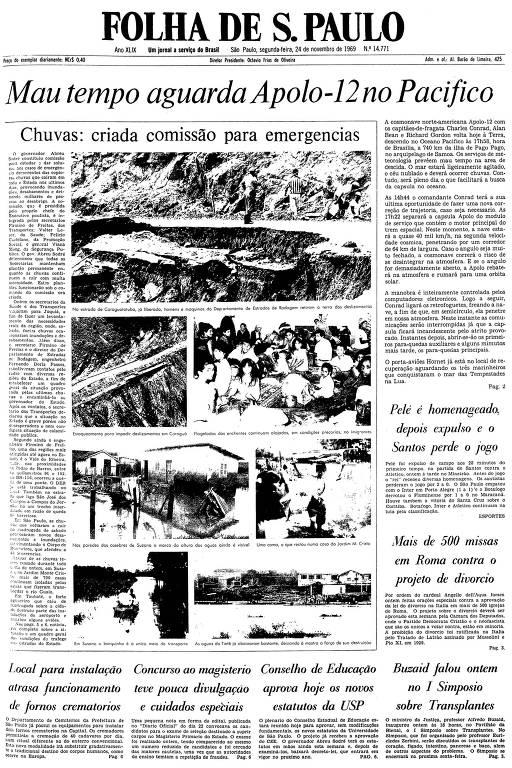 Primeira página da Folha de S.Paulo de 24 de novembro de 1969