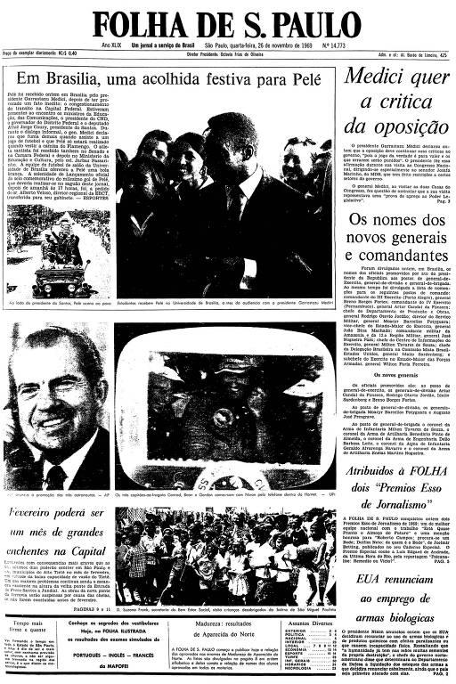 Primeira página da Folha de S.Paulo 26 de novembro de 1969