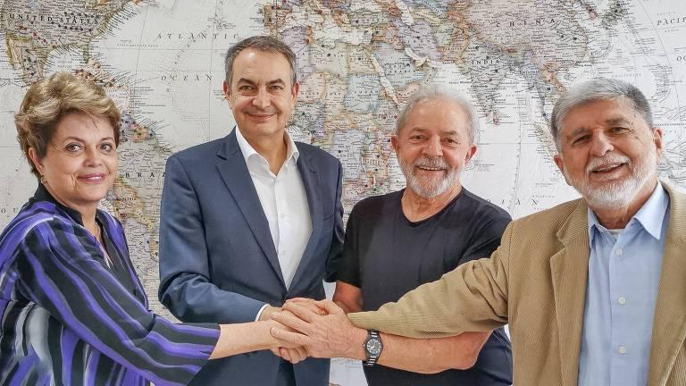 Dilma, o ex-primeiro-ministro espanhol Luis Zapatero, Lula e Celso Amorim, na sede do Instituto Lula