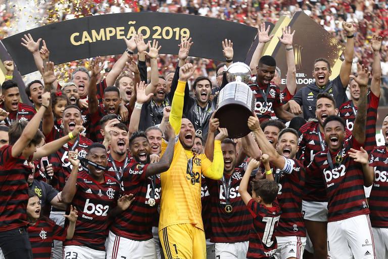 Jogadores do Flamengo celebram a conquista da Libertadores de 2019