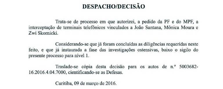 Documento em que Moro levanta parcialmente o sigilo de processo da Lava Jato