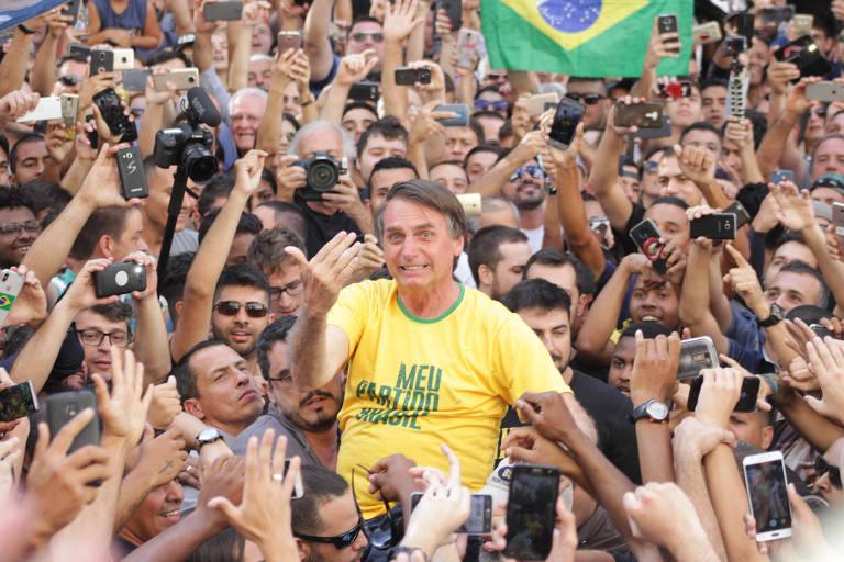O então candidato Jair Bolsonaro, em evento de campanha em 2018