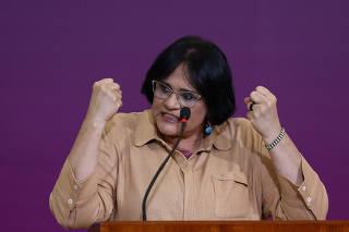 Damares Alves, durante solenidade do Dia do Enfrentamento à Violência contra a Mulher