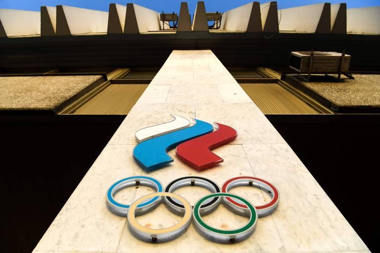Logo do Comitê Olímpico da Rússia no prédio da entidade em Moscou