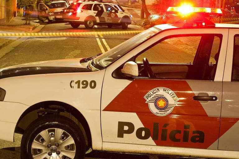 Viaturas da policia militar em rua de Santo André, no ABC Paulista