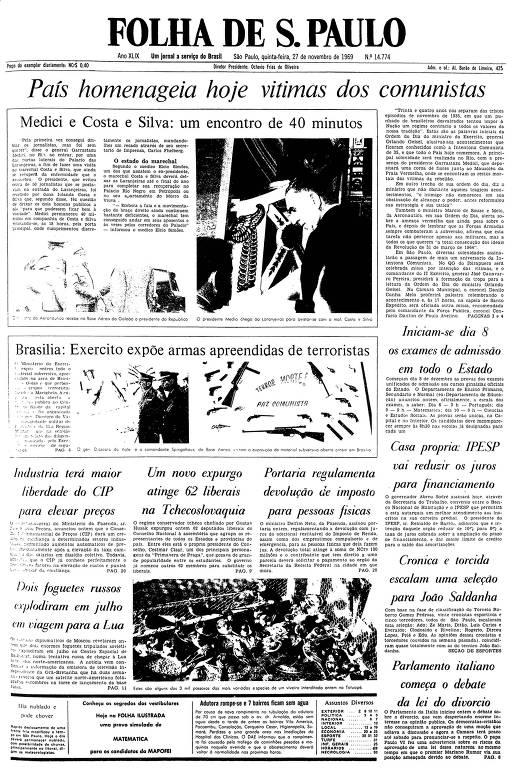 Primeira página da Folha de S.Paulo de 27 de novembro de 1969