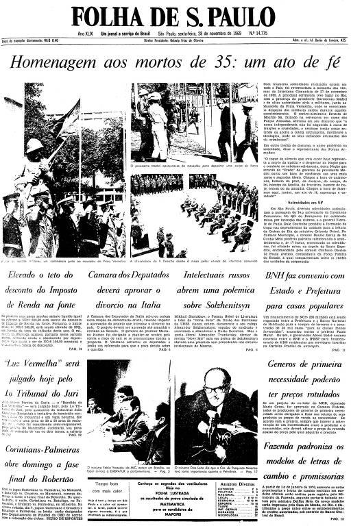 Primeira página da Folha de S.Paulo de 28 de novembro de 1969