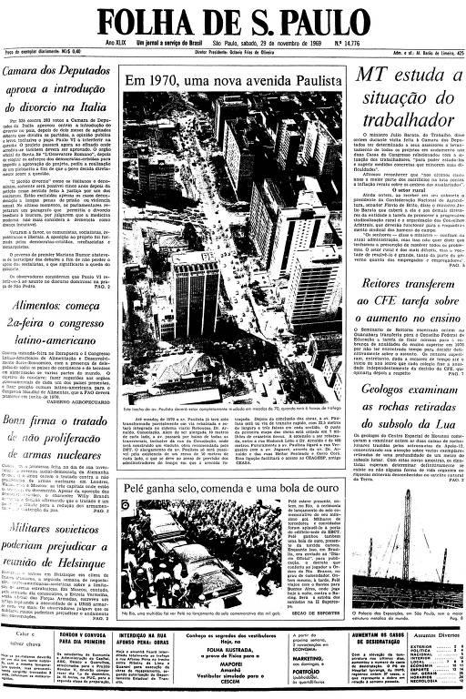 Primeira página da Folha de S.Paulo de 29 de novembro de 1969