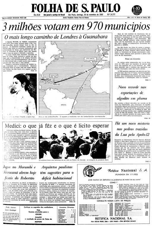 Primeira página da Folha de S.Paulo de 30 de novembro de 1969