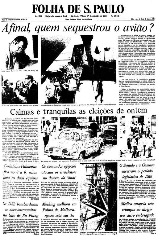Primeira página da Folha de S.Paulo de 1º de dezembro de 1969