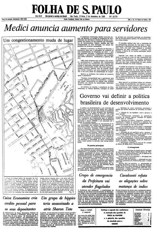Primeira página da Folha de S.Paulo de 2 de dezembro de 1969