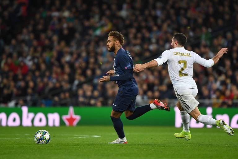 Neymar durante partida do PSG contra o Real Madrid pela Liga dos Campeões
