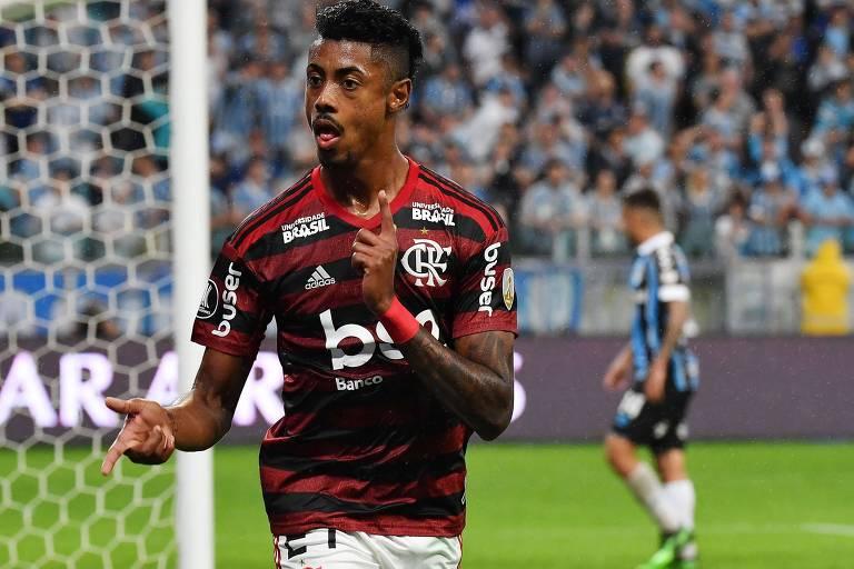 Bruno Henrique, atacante do Flamengo, durante partida pela Libertadores