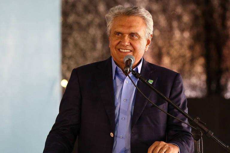Governador Ronaldo Caiado, durante cerimônia de entrega de ônibus escolares para o estado de Goiás