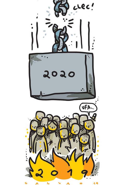"""Um grupo de pessoas está na parte inferior da imagem observando uma fogueira, onde está escrito """"2019"""" e uma das pessoas diz """"UFA..."""". Na parte superior, há um bloco de ferro gigante, onde está escrito """"2020"""", sob todas as pessoas preso por uma corrente que está se rompendo """"clec!"""""""