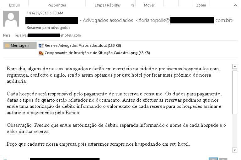 Mensagem de email que diz: