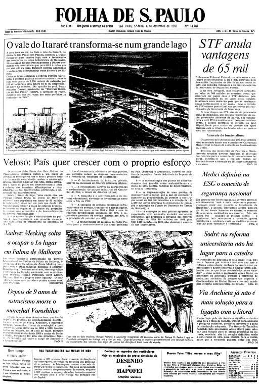 Primeira página da Folha de S.Paulo de 4 de dezembro de 1969