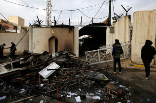 A view of the Iranian consulate after Iraqi demonstrators stormed and set fire to the building during ongoing anti-government protests in Najaf