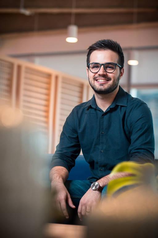 Thiago Barros, diretor da startup Vitta, na empresa em São Paulo