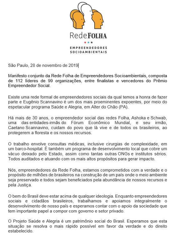 Manifesto conjunto dos integrantes da Rede Folha de Empreendedores Socioambientais em solidariedade a Eugênio e Caetano Scannavino, líderes do Projeto Saúde e Alegria