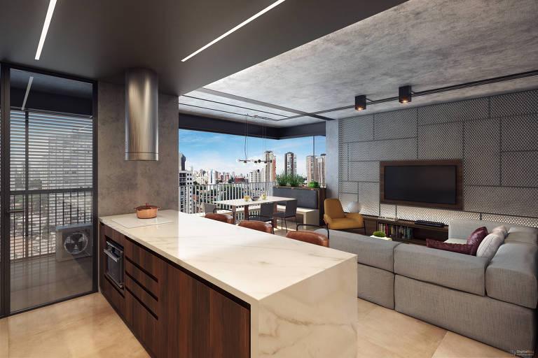 Ilustração do apartamento do empreendimento Urbic Ibirapuera