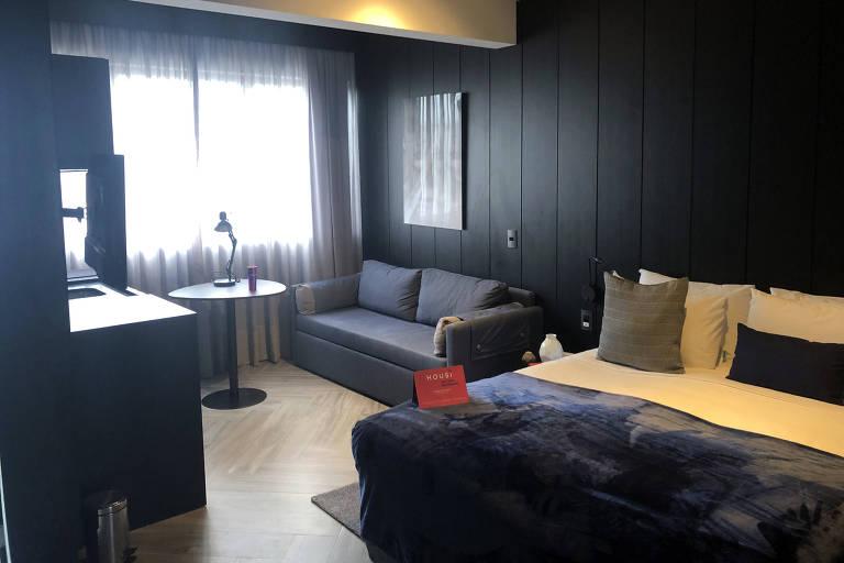 Apartamento tipo estúdio alugado pela construtora Vitacon por meio de sua plataforma Housi