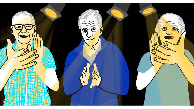 Ilustração de três homens batendo palmas. As mãos estão representadas bem maiores do que o tamanho comum das mãos. O fundo é preto e há três refletores